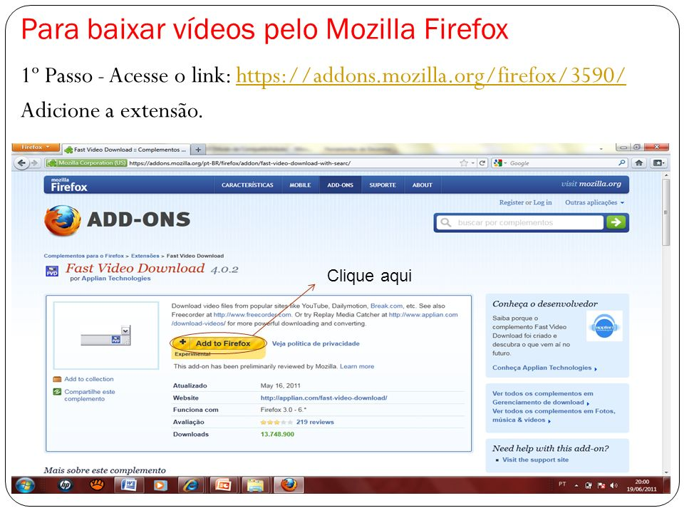 Para baixar vídeos pelo Mozilla Firefox