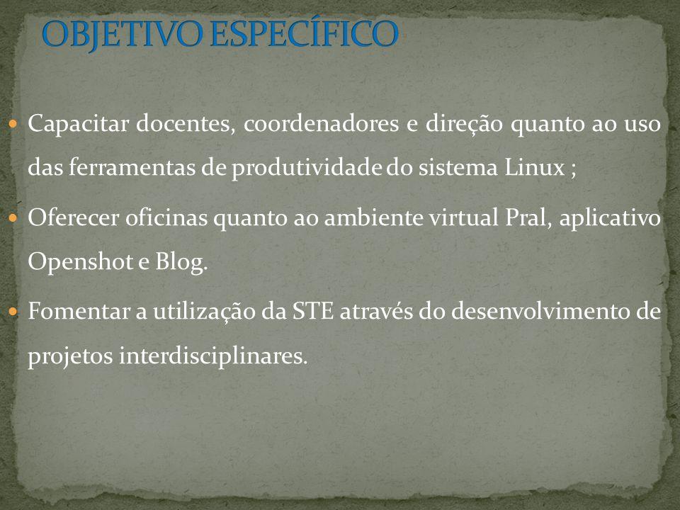 OBJETIVO ESPECÍFICO Capacitar docentes, coordenadores e direção quanto ao uso das ferramentas de produtividade do sistema Linux ;