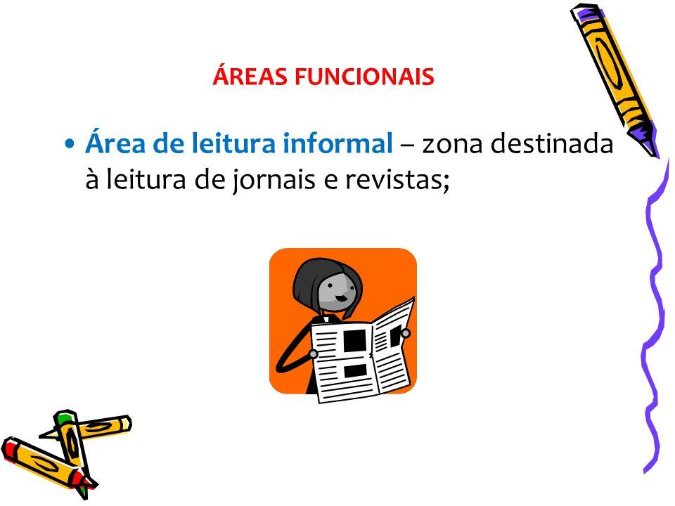 ÁREAS FUNCIONAIS Área de leitura informal – zona destinada à leitura de jornais e revistas;