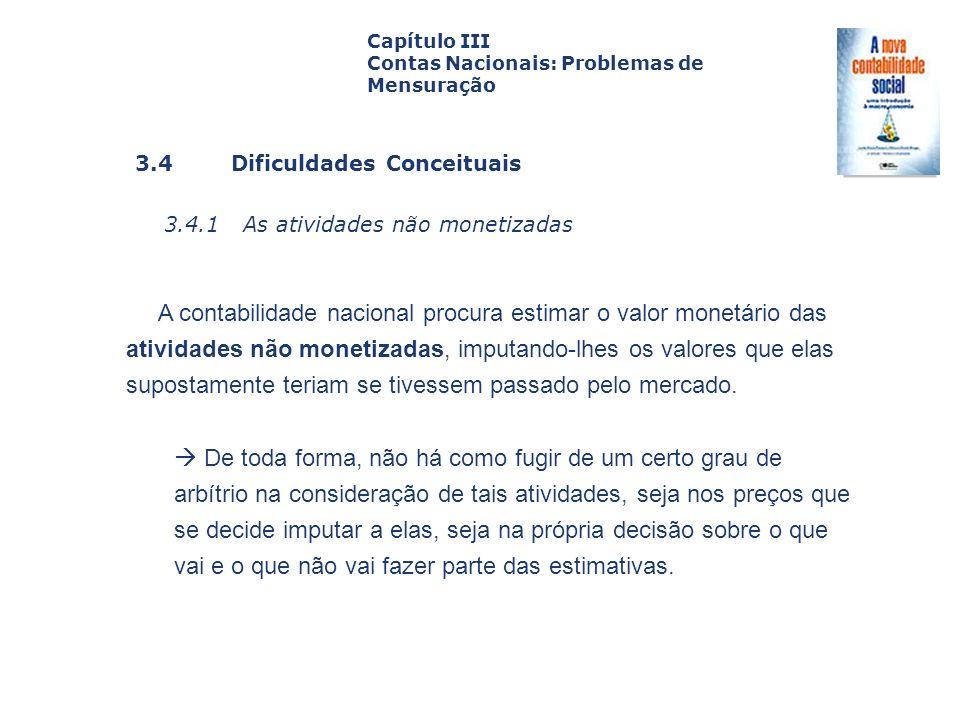 Capítulo III Contas Nacionais: Problemas de Mensuração. Capa. da Obra. 3.4 Dificuldades Conceituais.