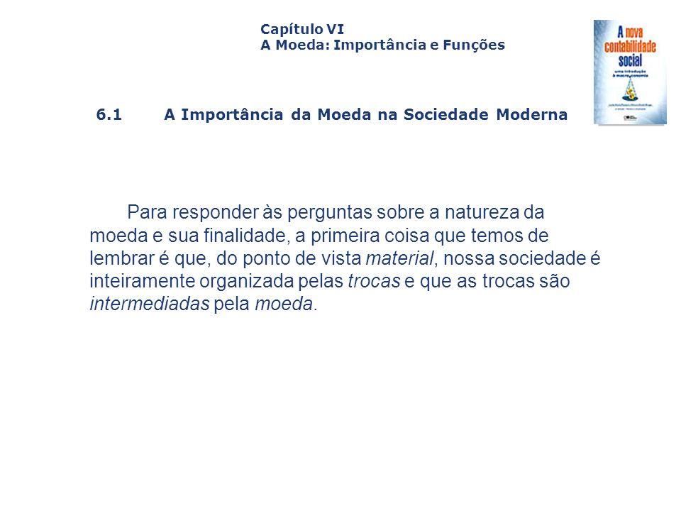 Capítulo VI A Moeda: Importância e Funções. Capa. da Obra. 6.1 A Importância da Moeda na Sociedade Moderna.