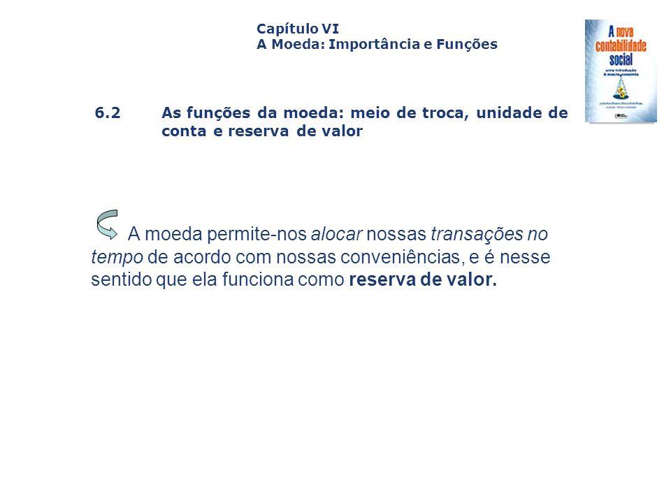 Capítulo VI A Moeda: Importância e Funções. Capa. da Obra. 6.2 As funções da moeda: meio de troca, unidade de conta e reserva de valor.