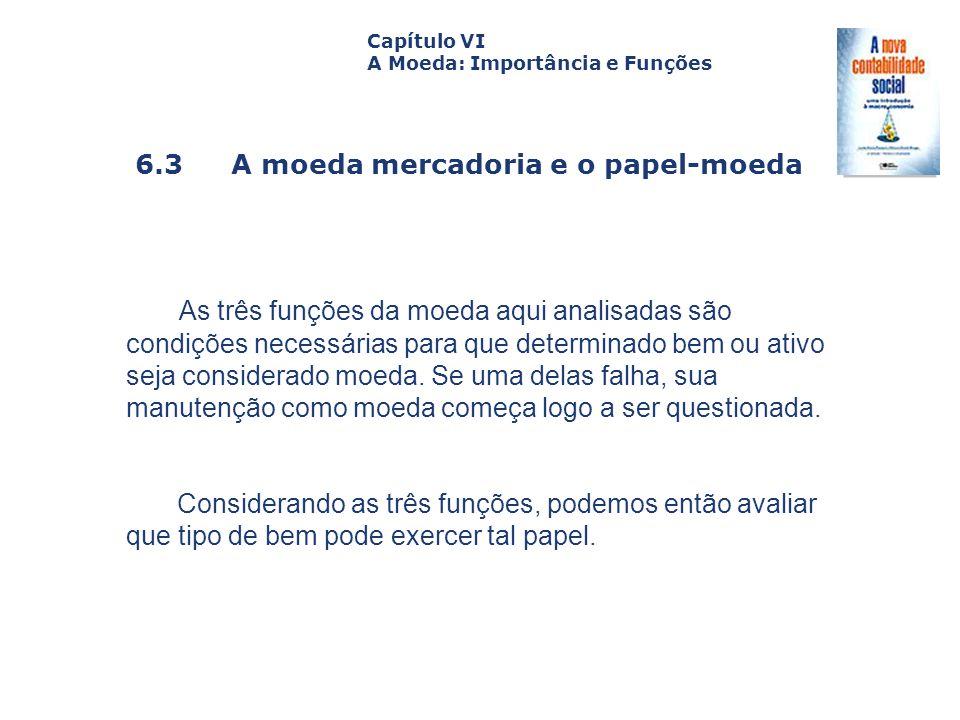 Capítulo VI A Moeda: Importância e Funções. Capa. da Obra. 6.3 A moeda mercadoria e o papel-moeda.
