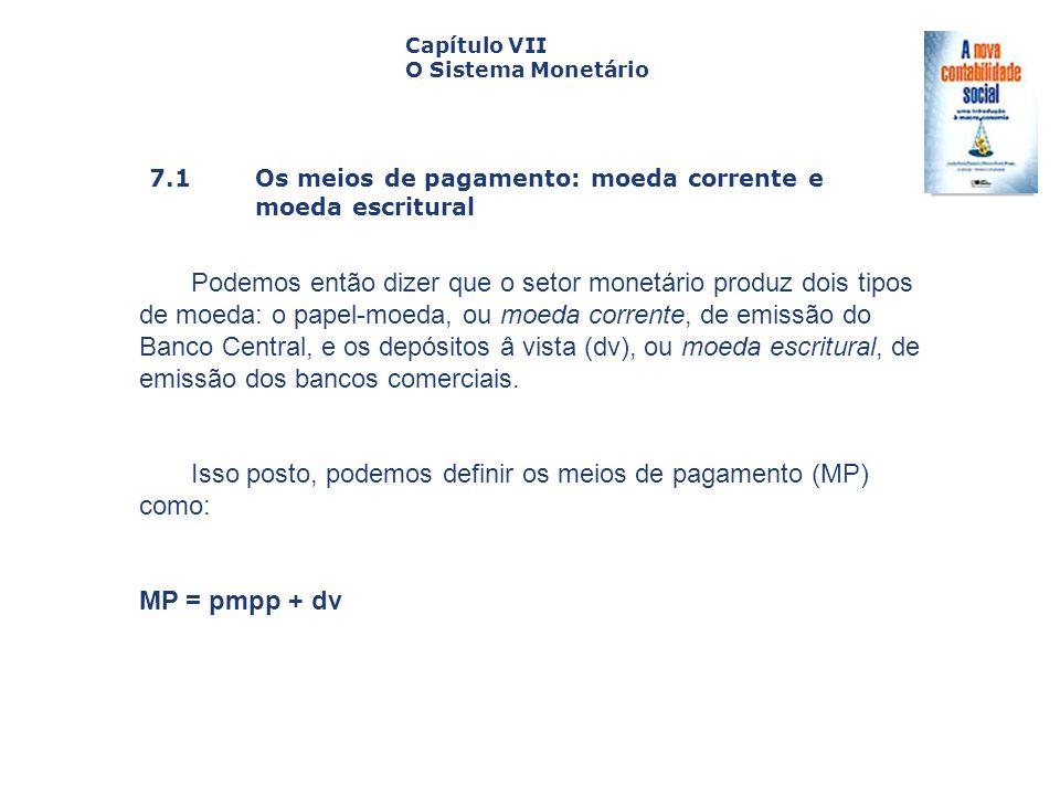 Isso posto, podemos definir os meios de pagamento (MP) como: