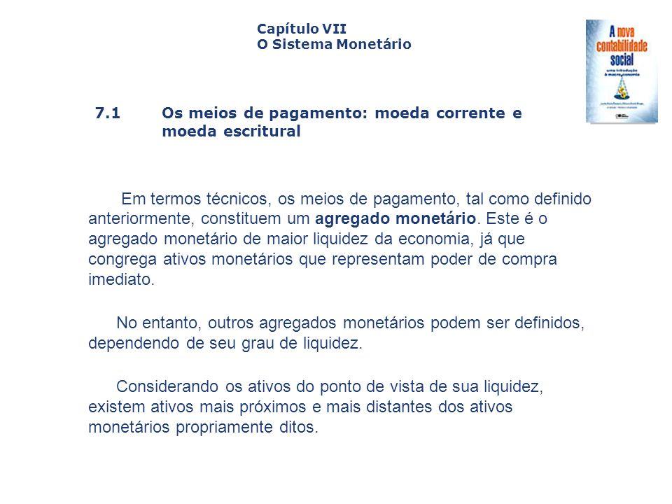 Capítulo VII O Sistema Monetário. Capa. da Obra. 7.1 Os meios de pagamento: moeda corrente e moeda escritural.