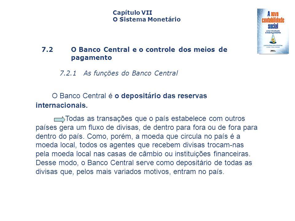 O Banco Central é o depositário das reservas internacionais.