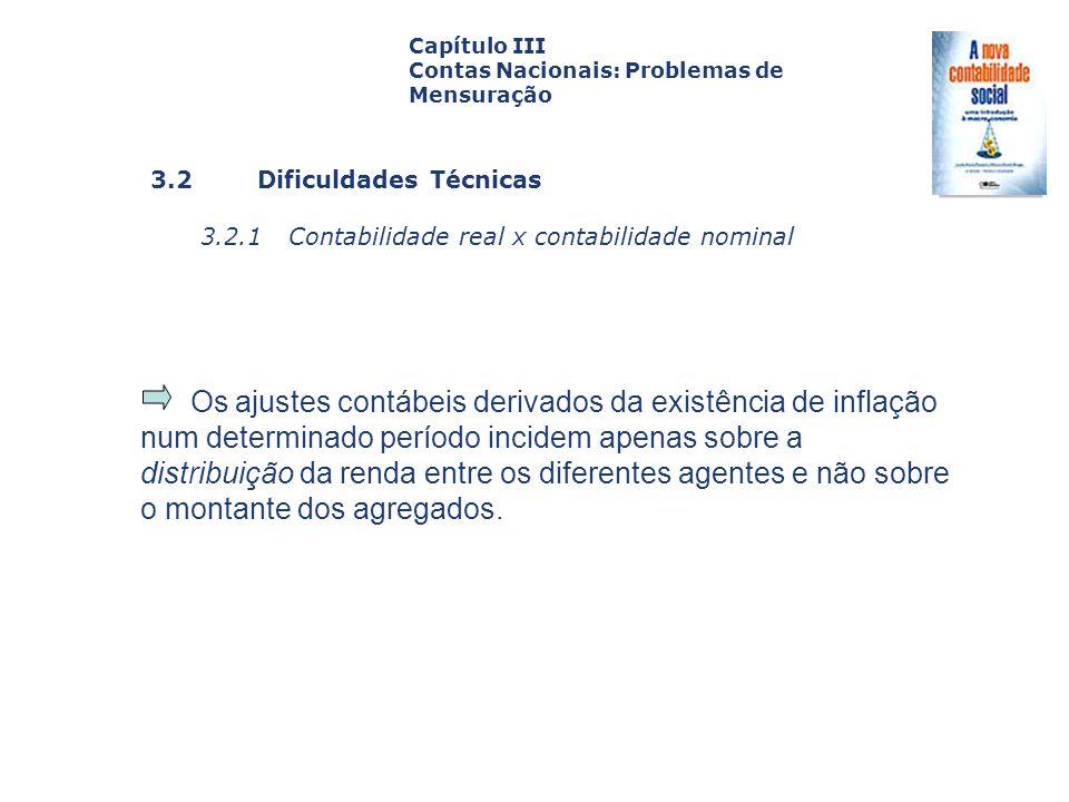 Capítulo III Contas Nacionais: Problemas de Mensuração. Capa. da Obra. 3.2 Dificuldades Técnicas.