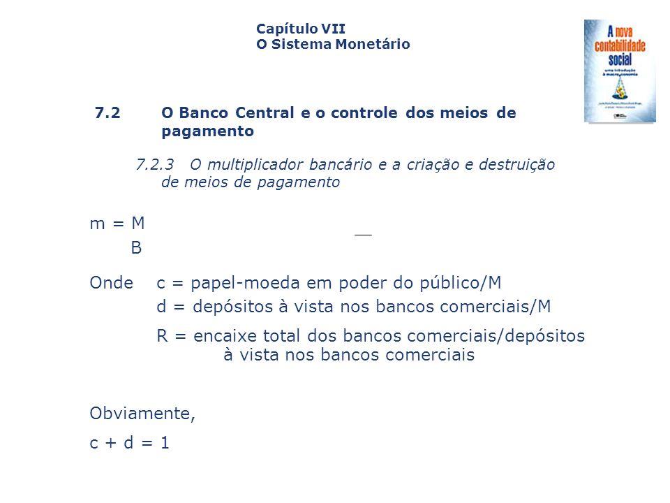 Onde c = papel-moeda em poder do público/M