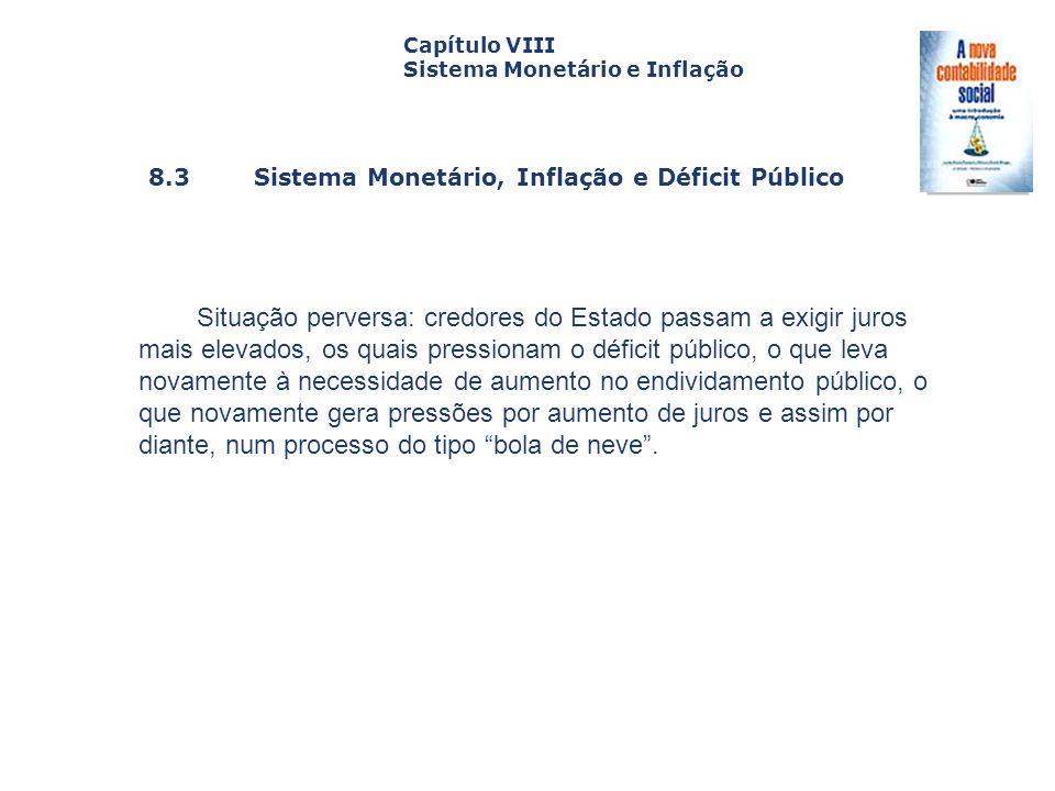 Capítulo VIII Sistema Monetário e Inflação. Capa. da Obra. 8.3 Sistema Monetário, Inflação e Déficit Público.