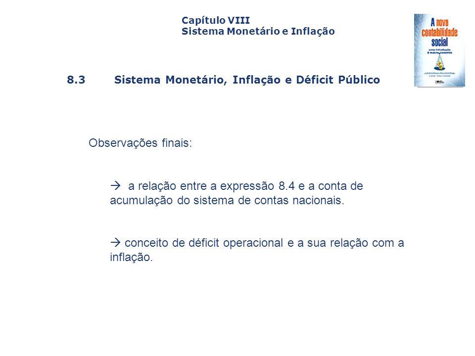  conceito de déficit operacional e a sua relação com a inflação.