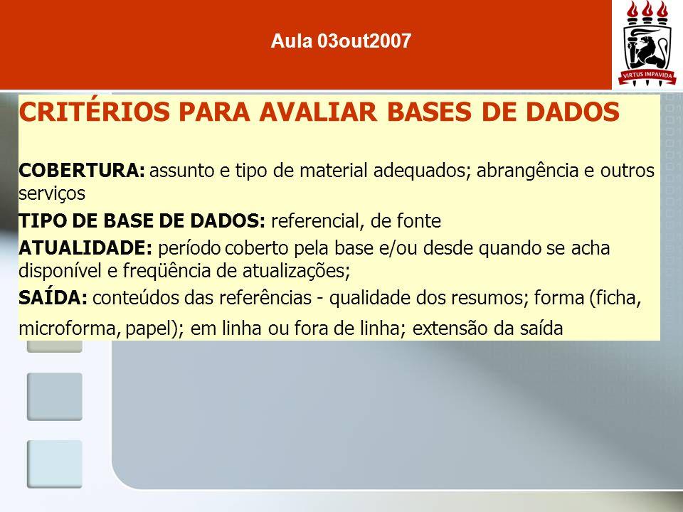 CRITÉRIOS PARA AVALIAR BASES DE DADOS