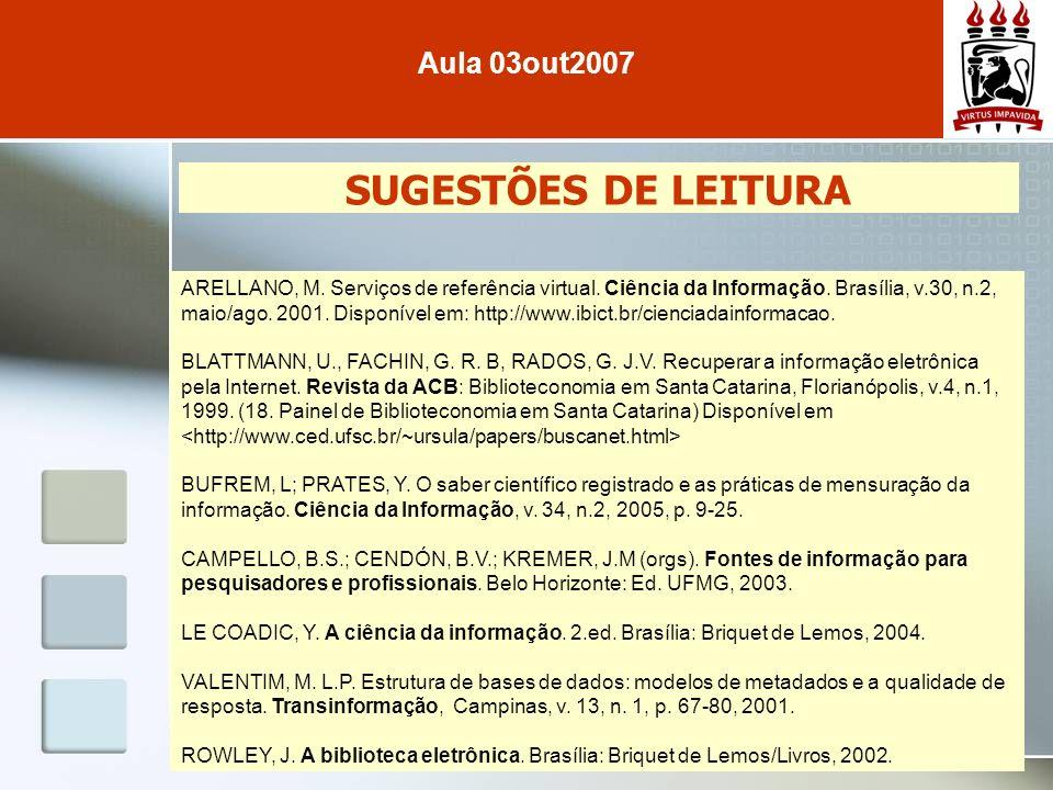 SUGESTÕES DE LEITURA Aula 03out2007