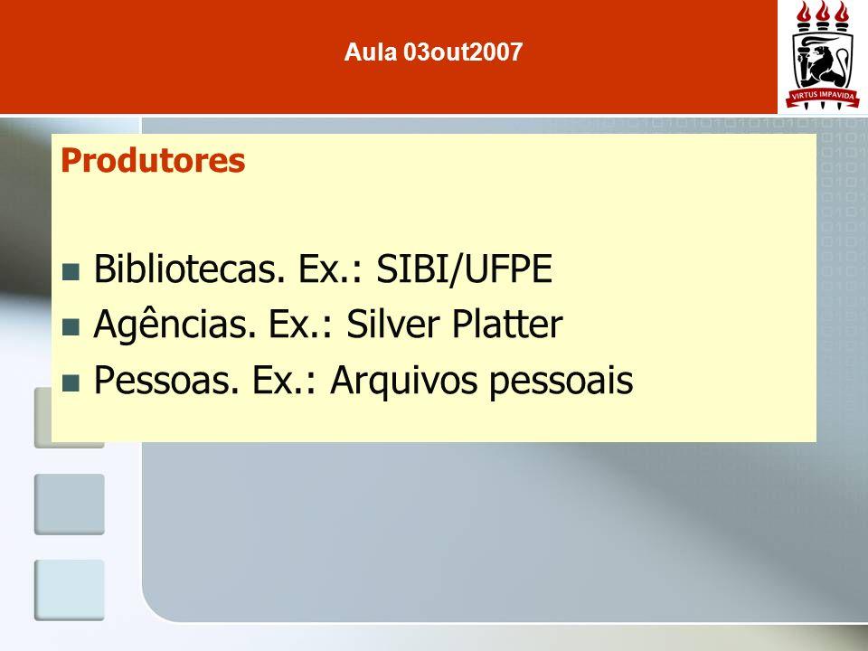 Bibliotecas. Ex.: SIBI/UFPE Agências. Ex.: Silver Platter
