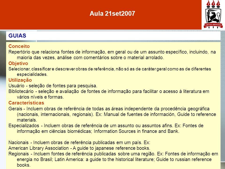 Aula 21set2007 GUIAS Conceito Objetivo Utilização Características