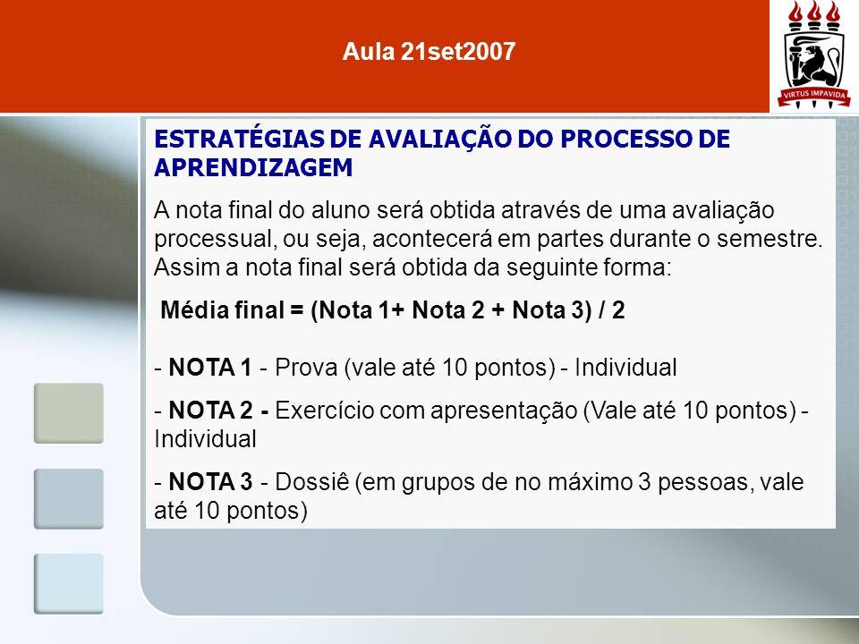 Aula 21set2007 ESTRATÉGIAS DE AVALIAÇÃO DO PROCESSO DE APRENDIZAGEM.
