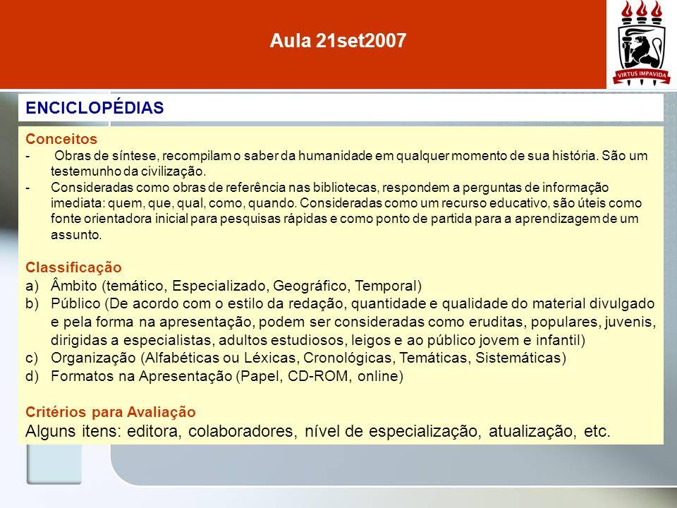 Aula 21set2007 ENCICLOPÉDIAS