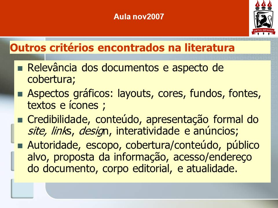 Outros critérios encontrados na literatura