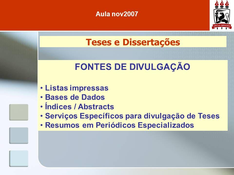 Teses e Dissertações FONTES DE DIVULGAÇÃO Listas impressas