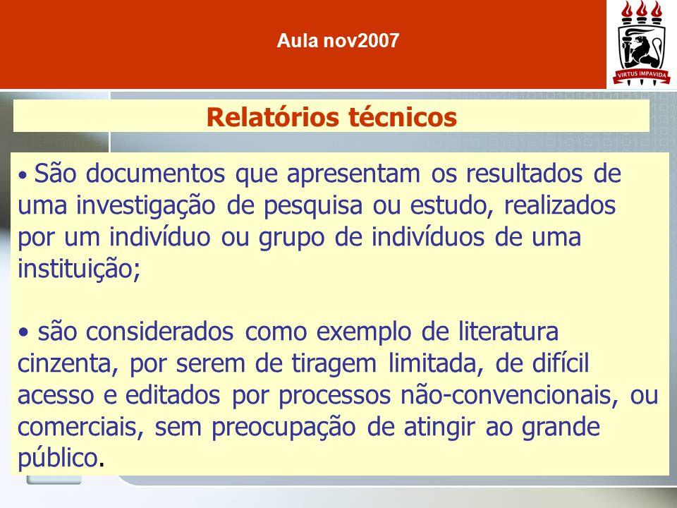 Aula nov2007 Relatórios técnicos.