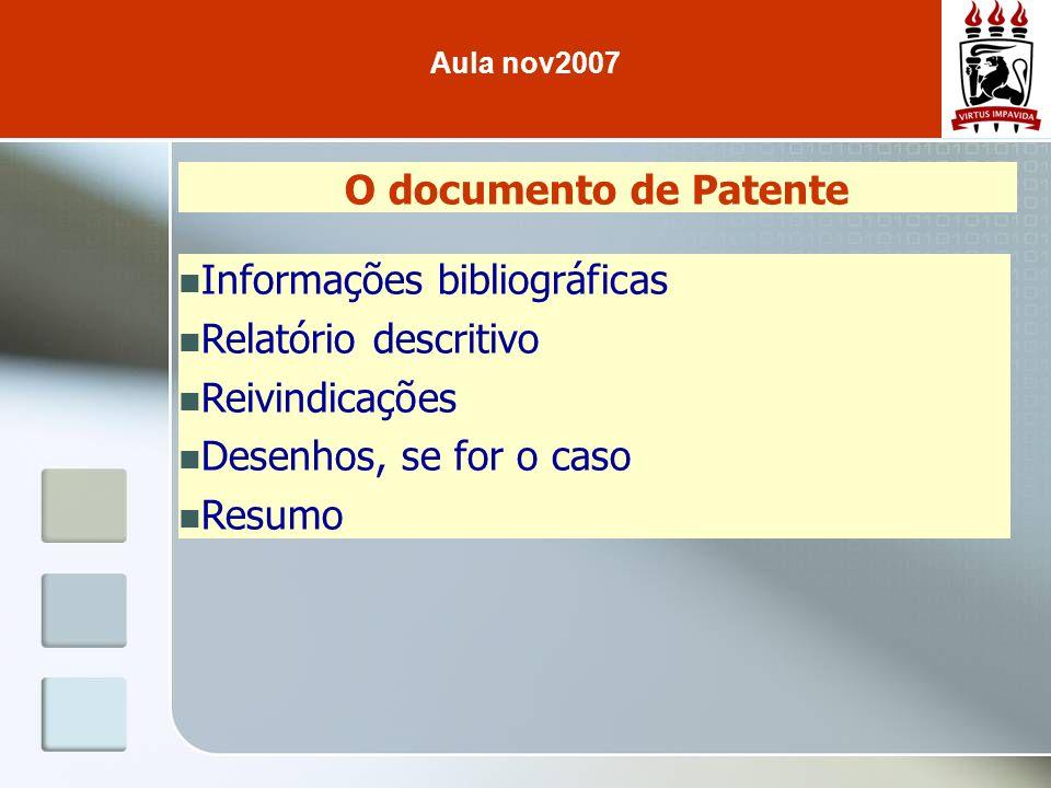 Informações bibliográficas Relatório descritivo Reivindicações