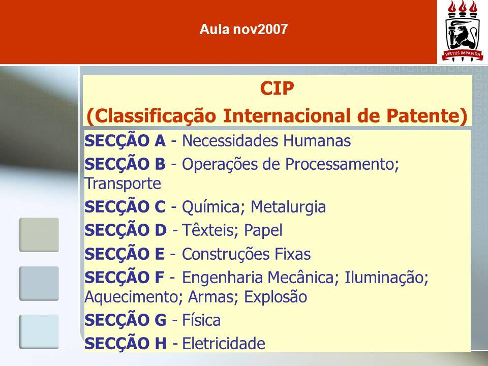 (Classificação Internacional de Patente)
