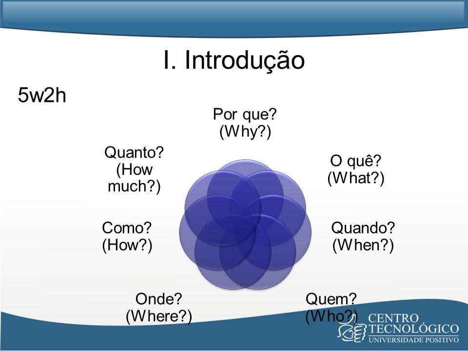 I. Introdução 5w2h Por que (Why ) O quê (What ) Quando (When )