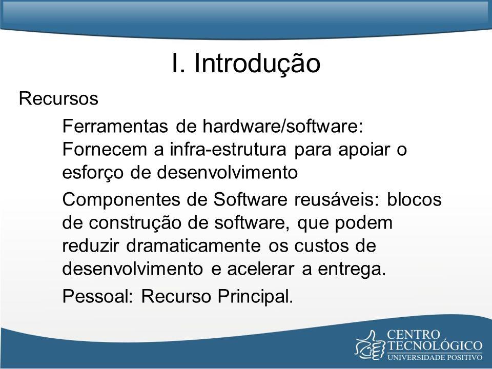 I. Introdução Recursos. Ferramentas de hardware/software: Fornecem a infra-estrutura para apoiar o esforço de desenvolvimento.