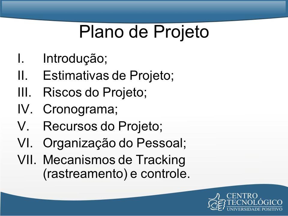 Plano de Projeto Introdução; Estimativas de Projeto;