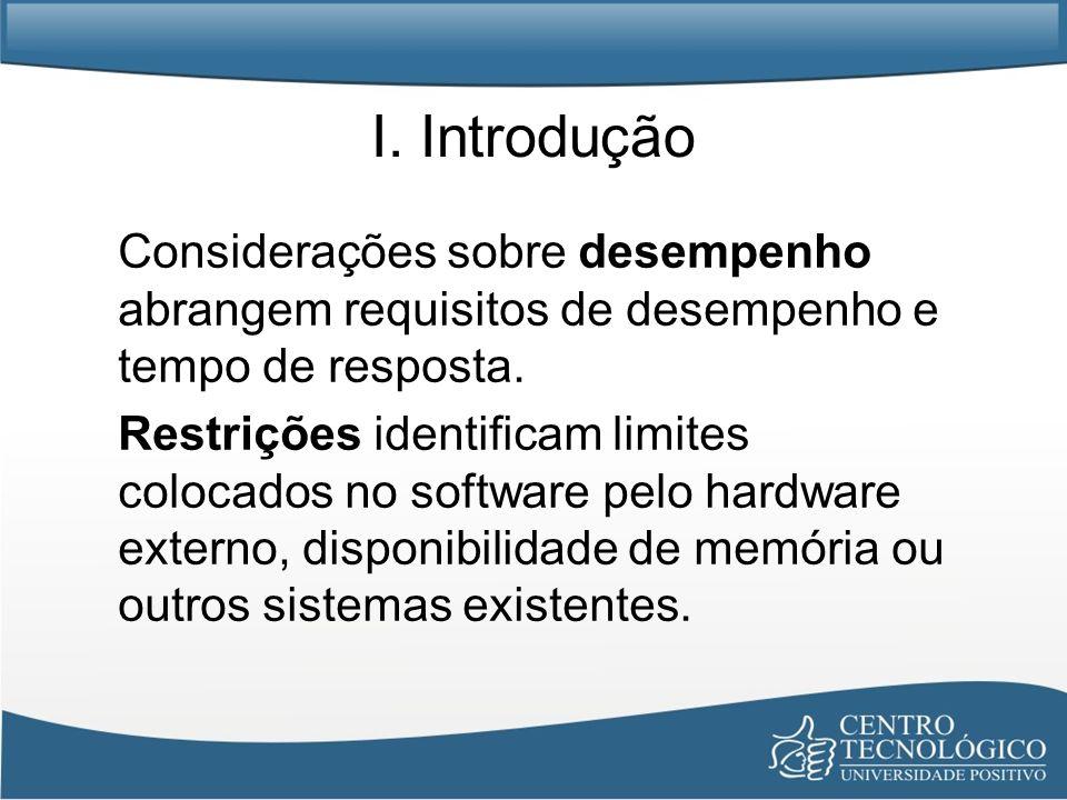 I. Introdução Considerações sobre desempenho abrangem requisitos de desempenho e tempo de resposta.