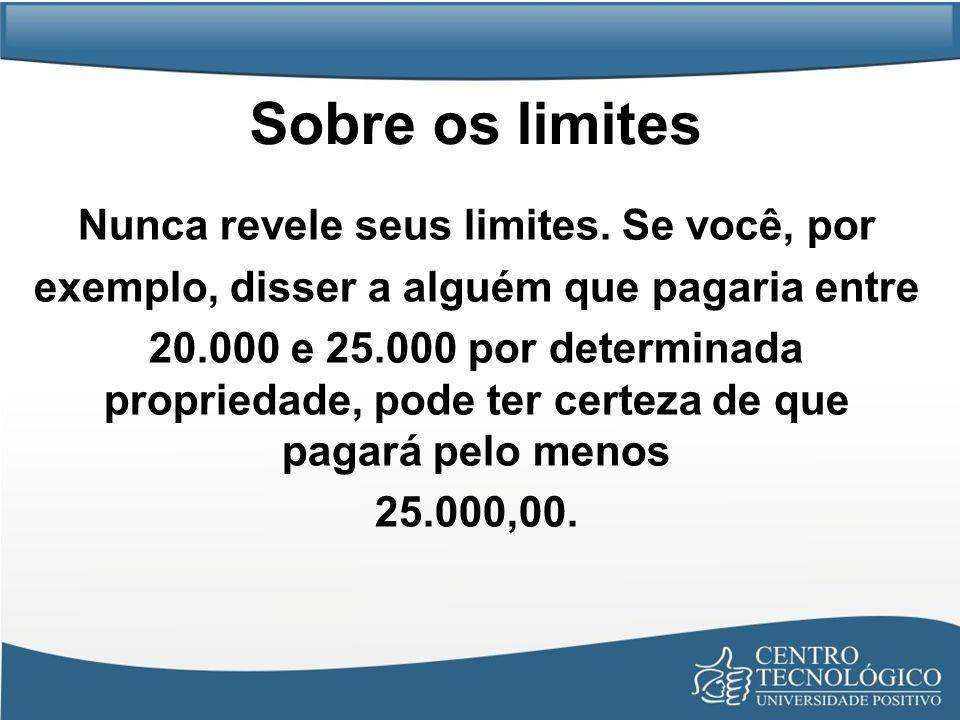 Sobre os limites Nunca revele seus limites. Se você, por