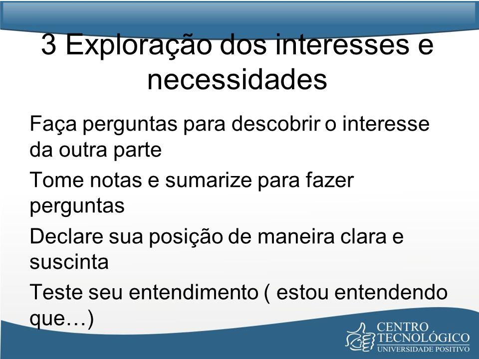 3 Exploração dos interesses e necessidades