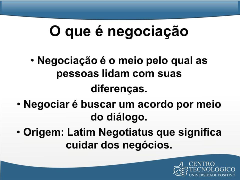 O que é negociação • Negociação é o meio pelo qual as pessoas lidam com suas. diferenças. • Negociar é buscar um acordo por meio do diálogo.