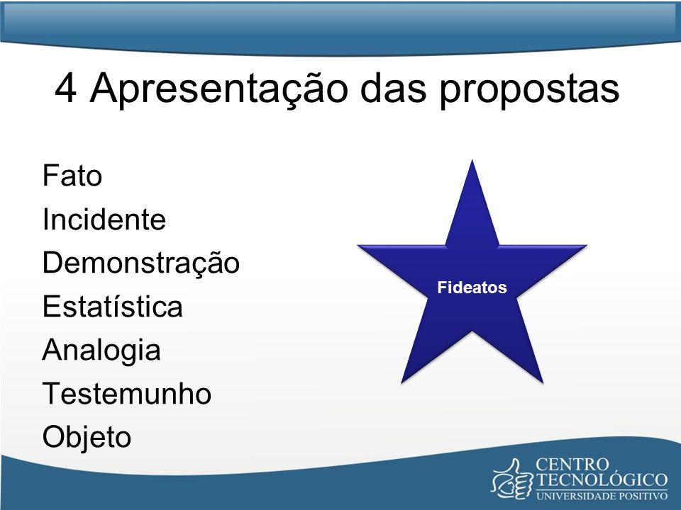 4 Apresentação das propostas
