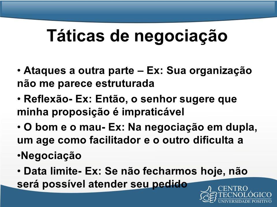 Táticas de negociaçãoAtaques a outra parte – Ex: Sua organização não me parece estruturada.