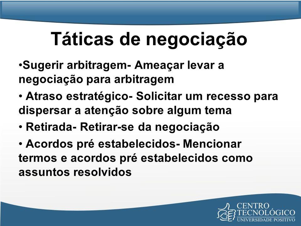 Táticas de negociaçãoSugerir arbitragem- Ameaçar levar a negociação para arbitragem.