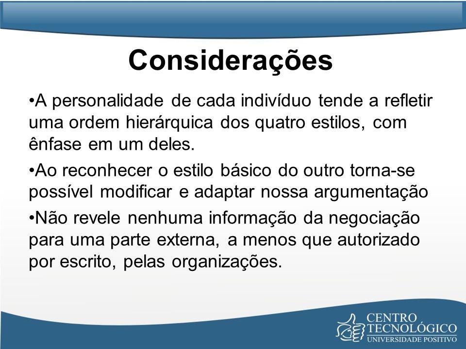 Considerações A personalidade de cada indivíduo tende a refletir uma ordem hierárquica dos quatro estilos, com ênfase em um deles.