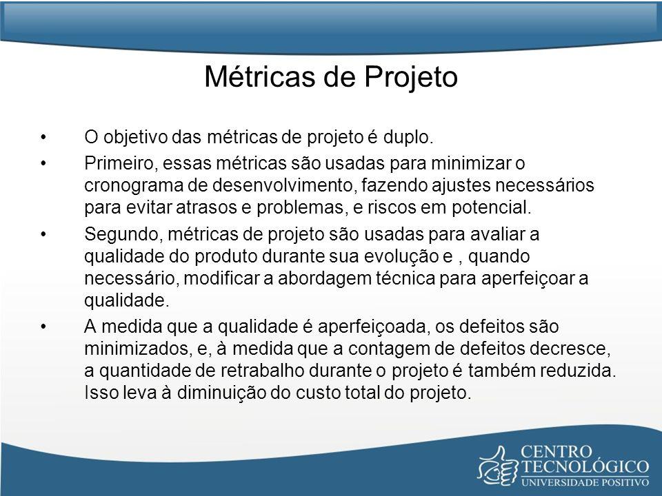 Métricas de Projeto O objetivo das métricas de projeto é duplo.