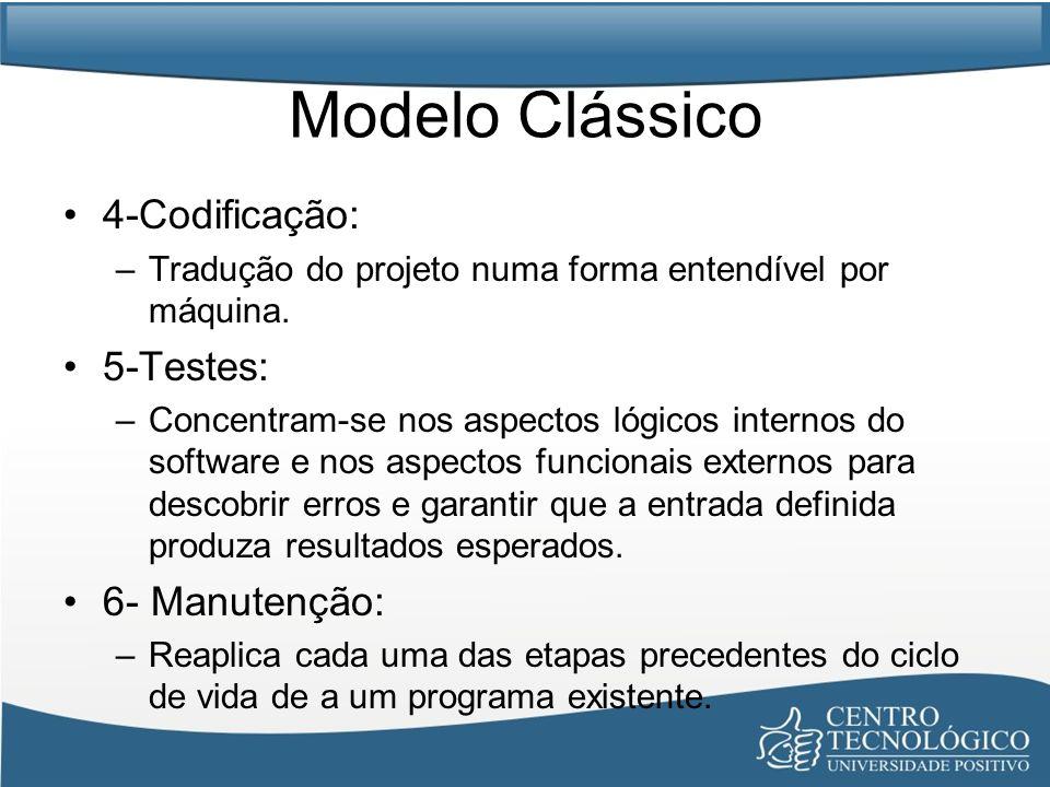 Modelo Clássico 4-Codificação: 5-Testes: 6- Manutenção: