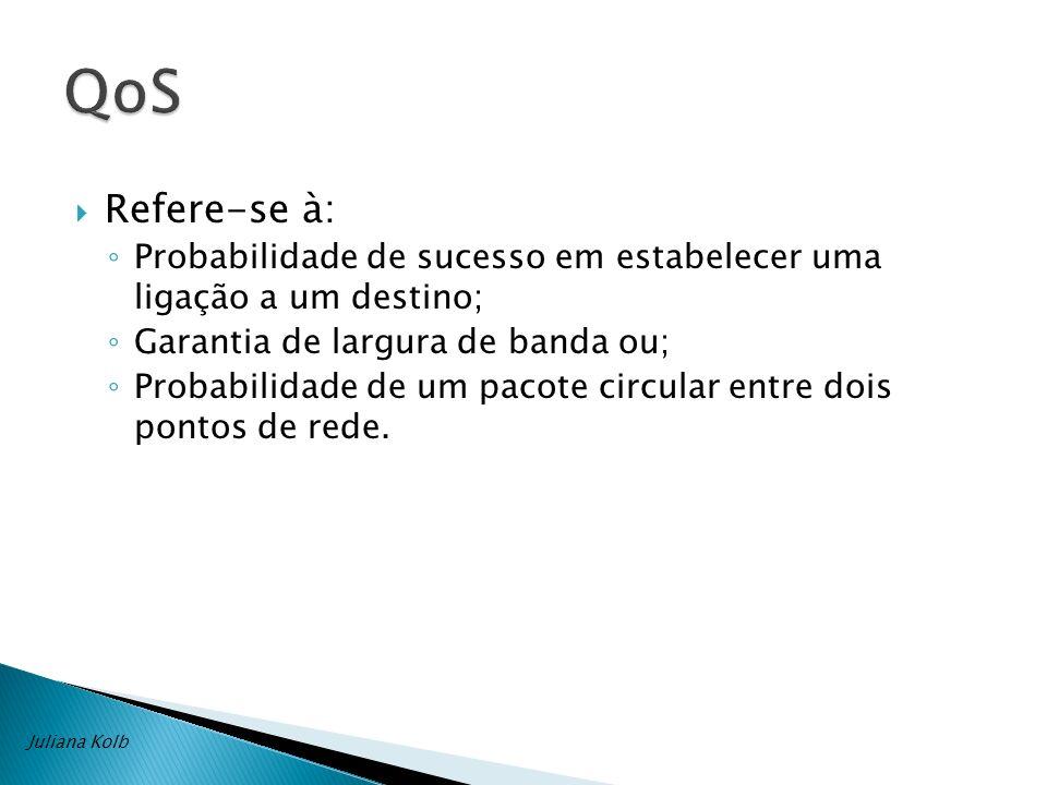 QoS Refere-se à: Probabilidade de sucesso em estabelecer uma ligação a um destino; Garantia de largura de banda ou;