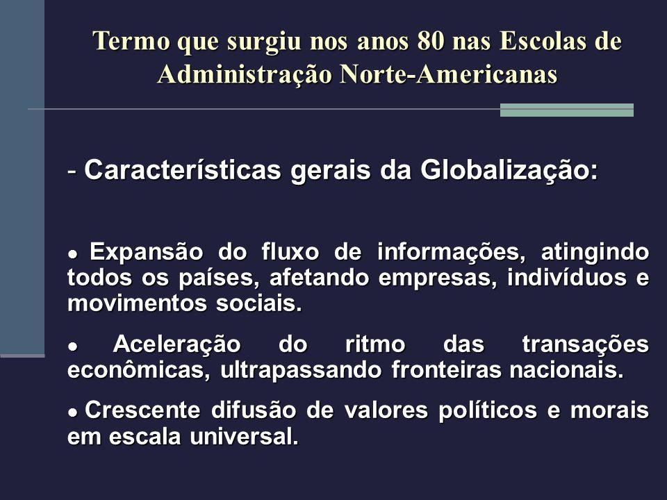 Características gerais da Globalização: