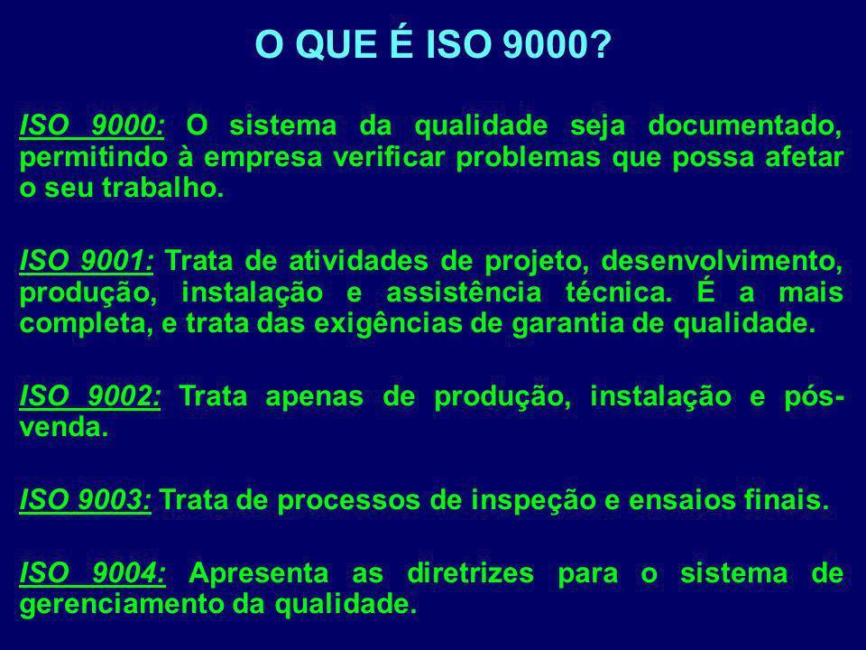 O QUE É ISO 9000 ISO 9000: O sistema da qualidade seja documentado, permitindo à empresa verificar problemas que possa afetar o seu trabalho.