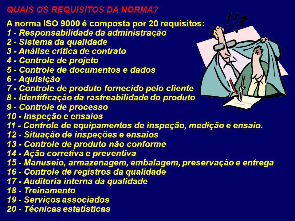 QUAIS OS REQUISITOS DA NORMA