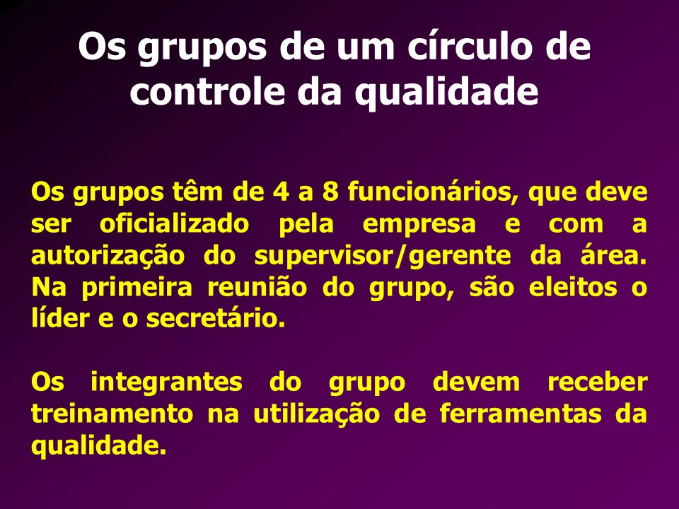 Os grupos de um círculo de controle da qualidade