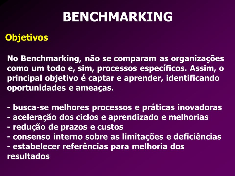 BENCHMARKING Objetivos