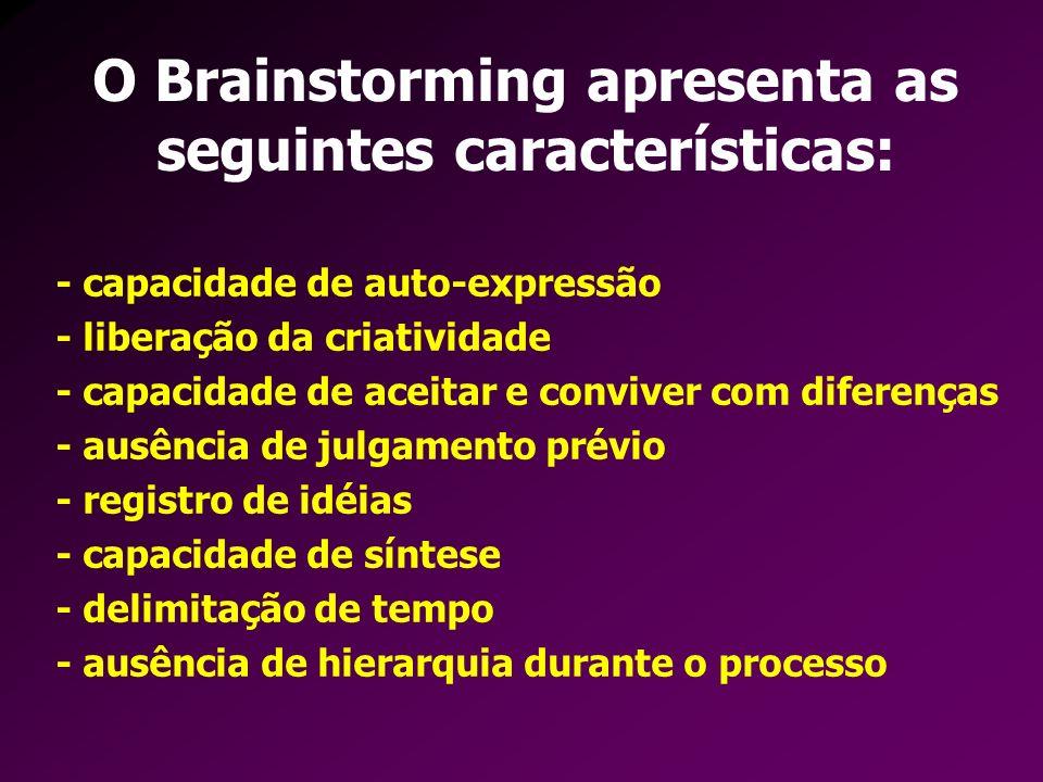 O Brainstorming apresenta as seguintes características: