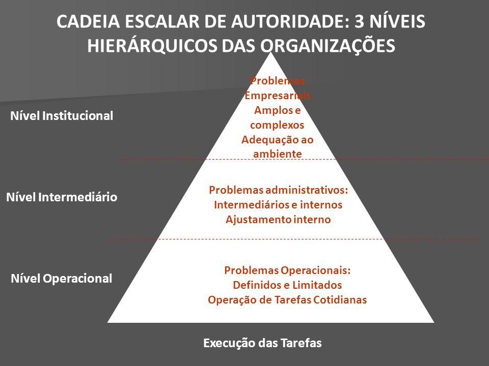 CADEIA ESCALAR DE AUTORIDADE: 3 NÍVEIS HIERÁRQUICOS DAS ORGANIZAÇÕES