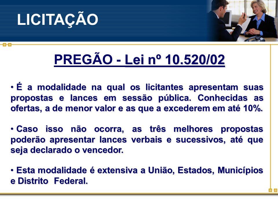 LICITAÇÃO PREGÃO - Lei nº 10.520/02
