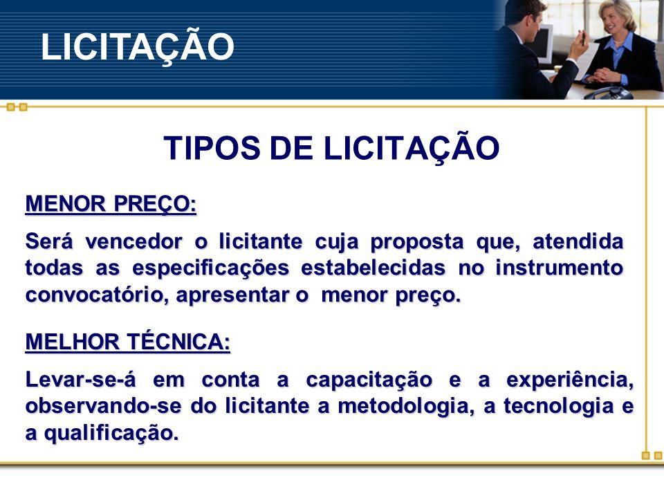 LICITAÇÃO TIPOS DE LICITAÇÃO MENOR PREÇO: