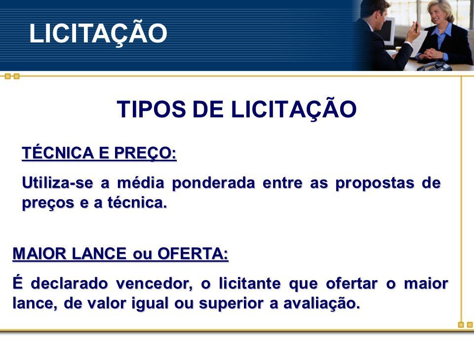 LICITAÇÃO TIPOS DE LICITAÇÃO TÉCNICA E PREÇO: