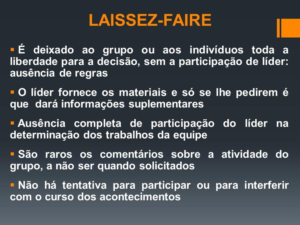 LAISSEZ-FAIRE É deixado ao grupo ou aos indivíduos toda a liberdade para a decisão, sem a participação de líder: ausência de regras.